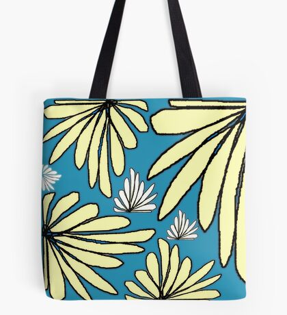 Tiffany blue yellow fern floral abstract print Tote Bag