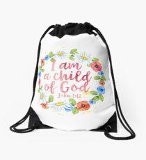 I Am A Child Of God - Christian Quote Drawstring Bag