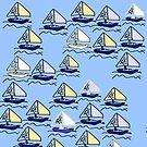Sailboat regatta pattern on blue by HEVIFineart