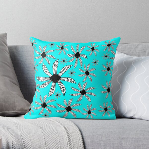 Aqua turquoise spiral wind catcher pattern Throw Pillow