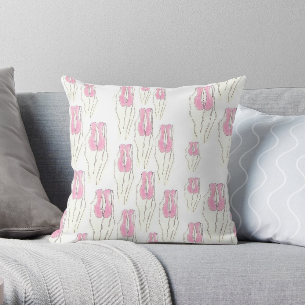 Pink Ballet Slippers pattern Throw Pillow