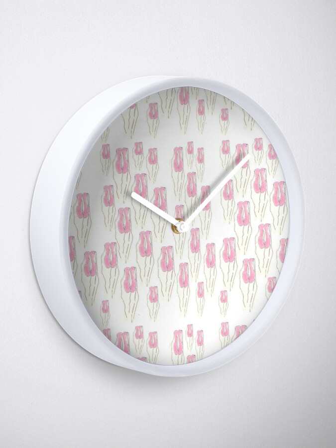 Alternate view of Pink Ballet Slippers pattern Clock