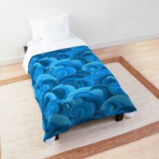 Dreaming of Waves Pattern - Blue Comforter
