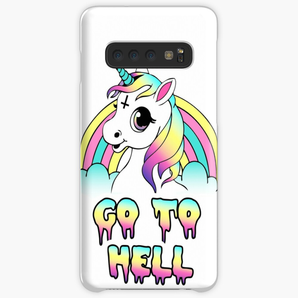 """Go To Hell"" Pastel Goth Unicornio Funda y vinilo para Samsung Galaxy"