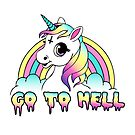 """""""Go To Hell"""" Pastel Goth Unicorn  by Amy Grace"""