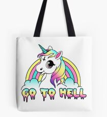 """Go To Hell"" Pastel Goth Unicorn  Tote Bag"