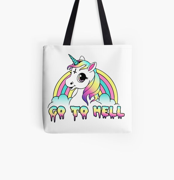 """Go To Hell"" Pastel Goth Unicorn  All Over Print Tote Bag"