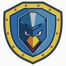 Blue Chicken Mohawk Shield Icon by patrimonio