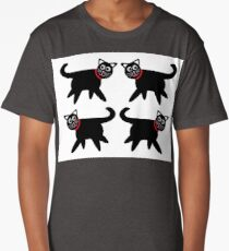 4 Black Cats in Red Collars Long T-Shirt