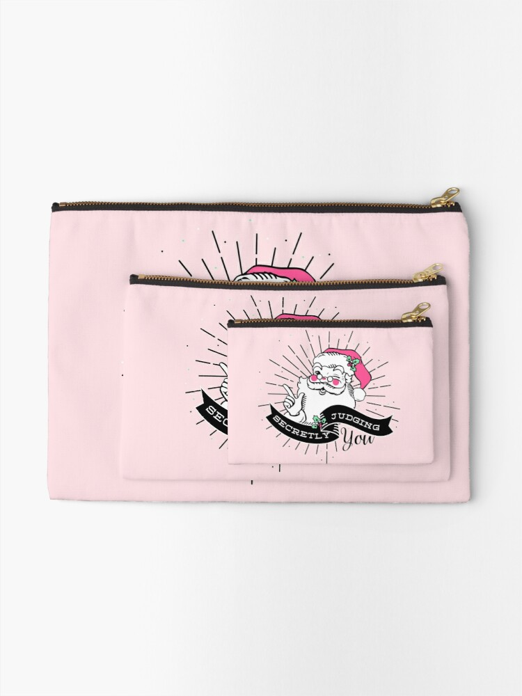 Alternate view of Santa is Secretly Judging You Zipper Pouch