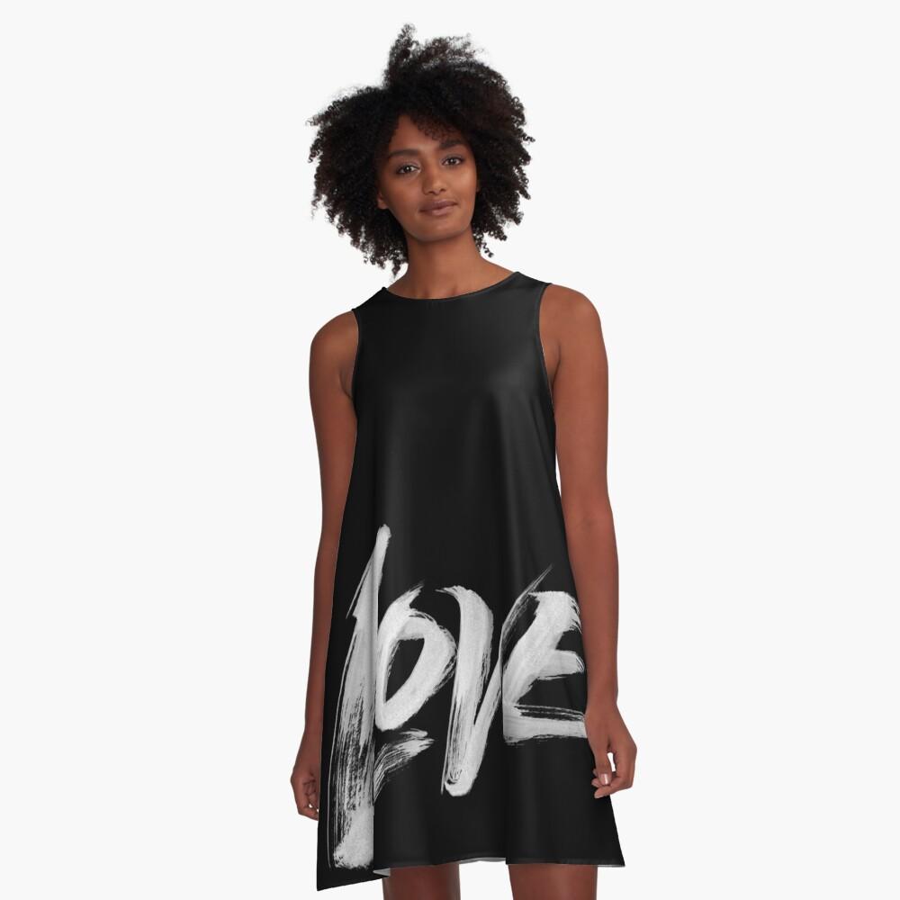 Zen Brush Love Word - Lettering - White Calligraphy  A-Line Dress