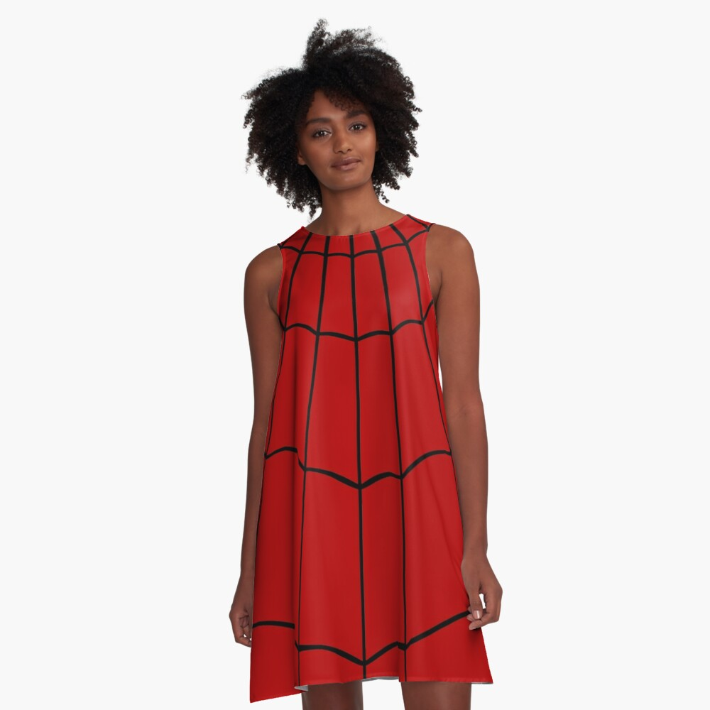 Spider Web - Red A-Line Dress