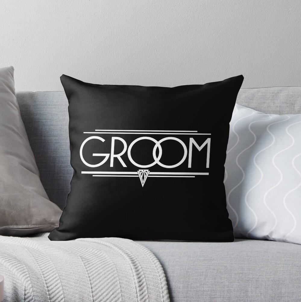 GROOM Stylish Type Hand Lettering - Wedding Art Deco Elegant White on Black Throw Pillow
