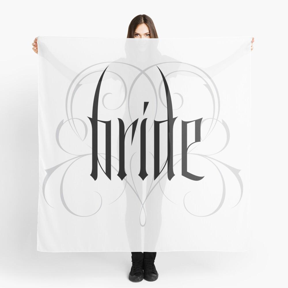 Gothic Bride Hand Lettering - Modern Vampire Tattoo Goth Wedding Calligraphy - Rehearsal Dinner Scarf
