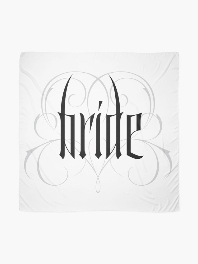 Alternate view of Gothic Bride Hand Lettering - Modern Vampire Tattoo Goth Wedding Calligraphy - Rehearsal Dinner Scarf