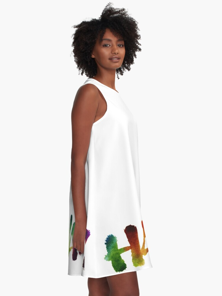 Alternate view of Hawai'i Lettering Calligraphy in tropical colors - Hawaii A-Line Dress