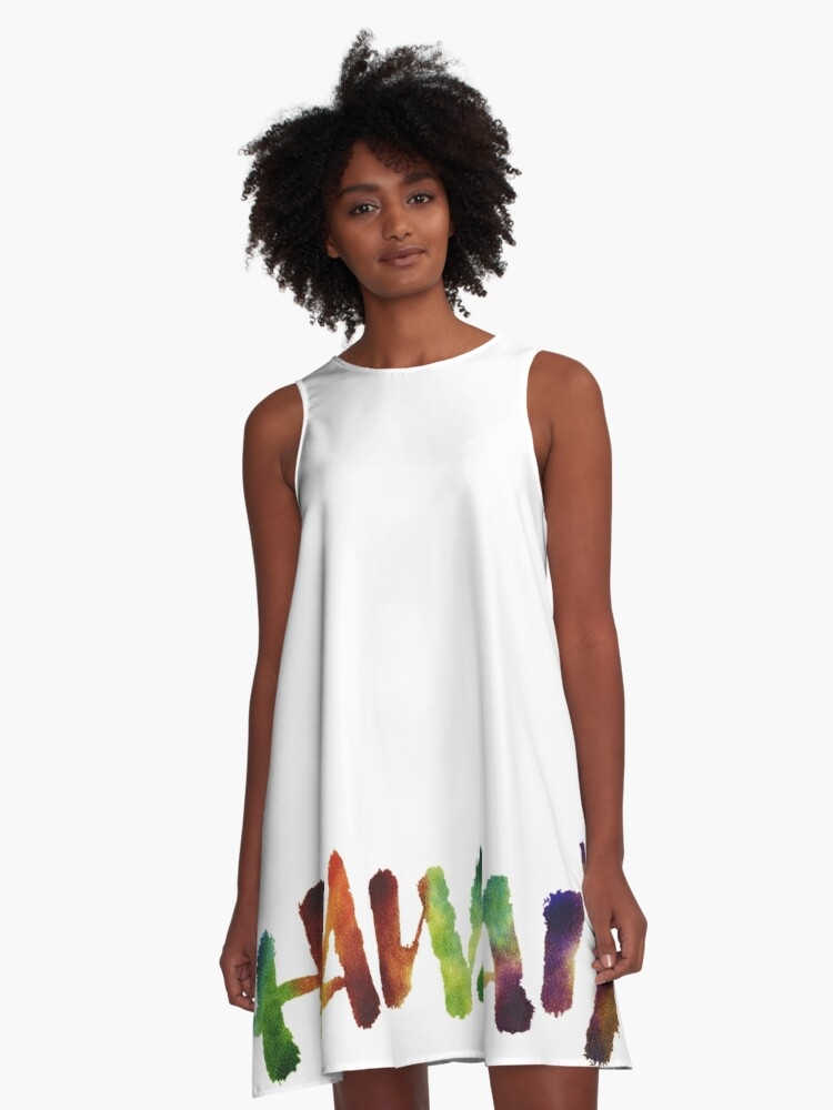 Hawai'i Lettering Calligraphy in tropical colors - Hawaii A-Line Dress Front