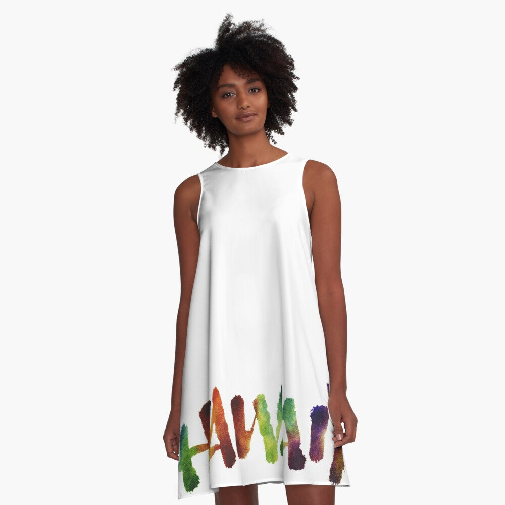 Hawai'i Lettering Calligraphy in tropical colors - Hawaii A-Line Dress