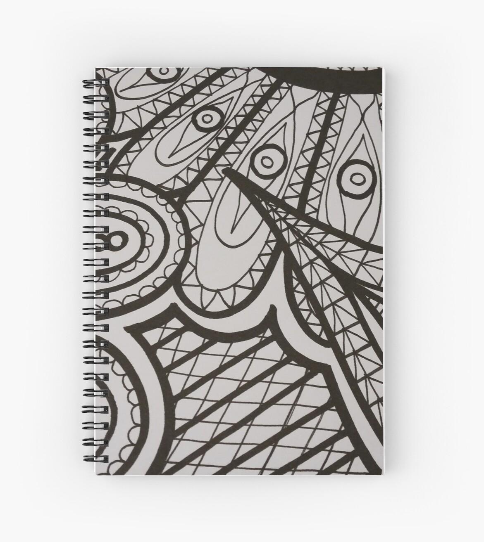 Dibujo Lineal En Blanco Y Negro Cuaderno De Espiral By Jessica Clemenhagen