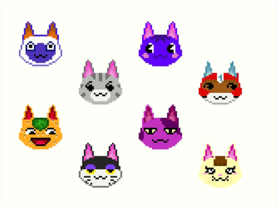 Image of: Cat Animal Crossing Cats Pixel Art bob Tangy Lolly Mitzi Kid Cat Merry Punchy Rosie Redbubble Animal Crossing Cats Pixel Art bob Tangy Lolly Mitzi Kid Cat