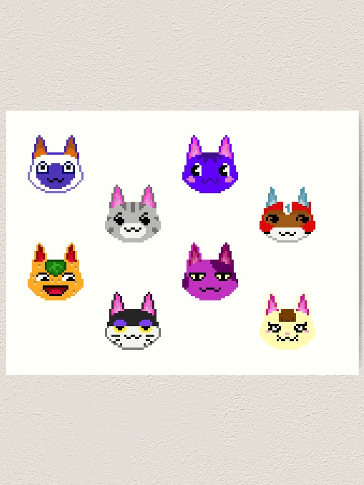 Animaux Crossing Cats Pixel Art Bob Tangy Lolly Mitzi Kid Chat Joyeux Punchy Rosie Impression Artistique