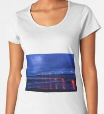 Orange Pier Lights Blue Sunrise Women's Premium T-Shirt