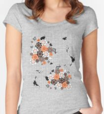 Orange Flowers and Chicks Scrapbook Doodles Women's Fitted Scoop T-Shirt