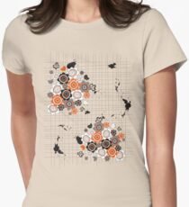Orange Flowers and Chicks Scrapbook Doodles Women's Fitted T-Shirt