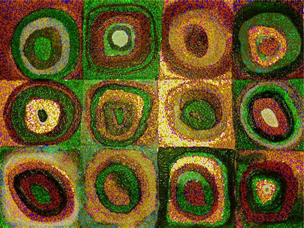 Green Circles Abstract Art (after Kandinsky) by Vicky Brago-Mitchell