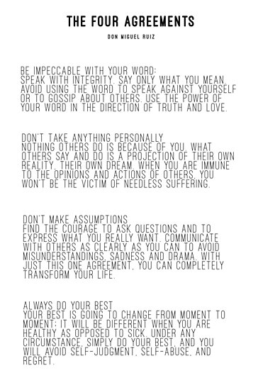 The Four Agreements Posters By Andreaanderegg Redbubble
