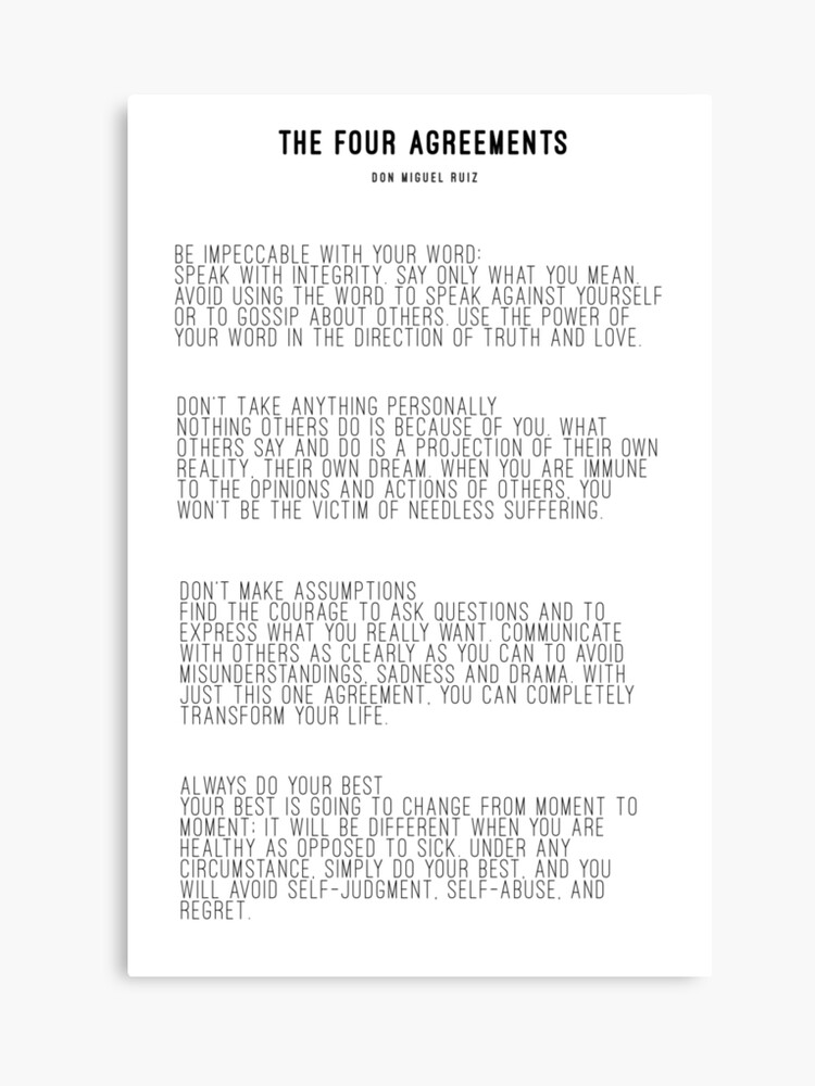 picture relating to The Four Agreements Printable titled The 4 Agreements Canvas Print