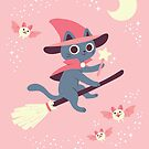 Magical Cat Witch on a Broomstick by KristyKate