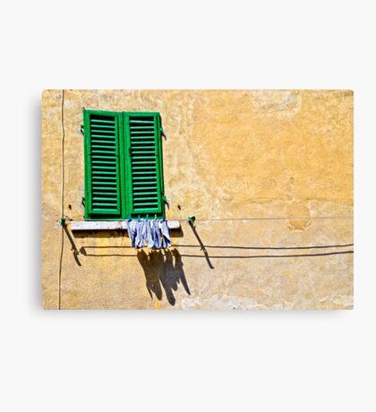 One-legged man's washing day Canvas Print