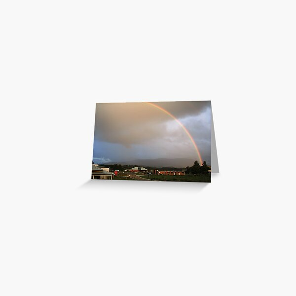 Rainbow over Mt Macedon Greeting Card