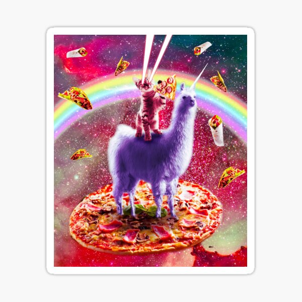 Laser Eyes Outer Space Cat Riding On Llama Unicorn Sticker