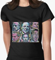 Gangsters painting movie Goodfellas Godfather Casino Scarface Sopranos Women's Fitted T-Shirt