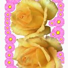 Yellow Rose Pink SunFlowers floral by EllenDaisyShop
