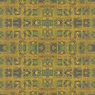 Abstract pattern in ethnic style, yellow and olive green   by clipsocallipso