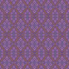 Nocturnal bloom, floral arabesque pattern, purple and orange by clipsocallipso