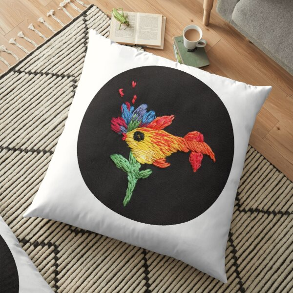 gold fish embroidery Floor Pillow