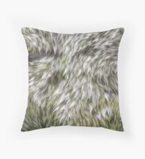 Green and furry  Throw Pillow