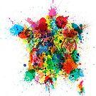 France Map Paint Splashes by Michael Tompsett