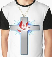 CHRISTIAN CROSS AND DOVE NECKLACES  Graphic T-Shirt