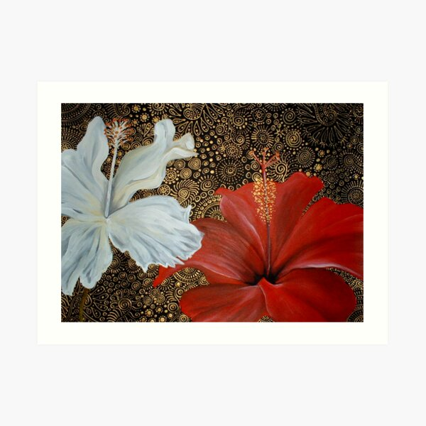 Red and White Hibiscus Art Print