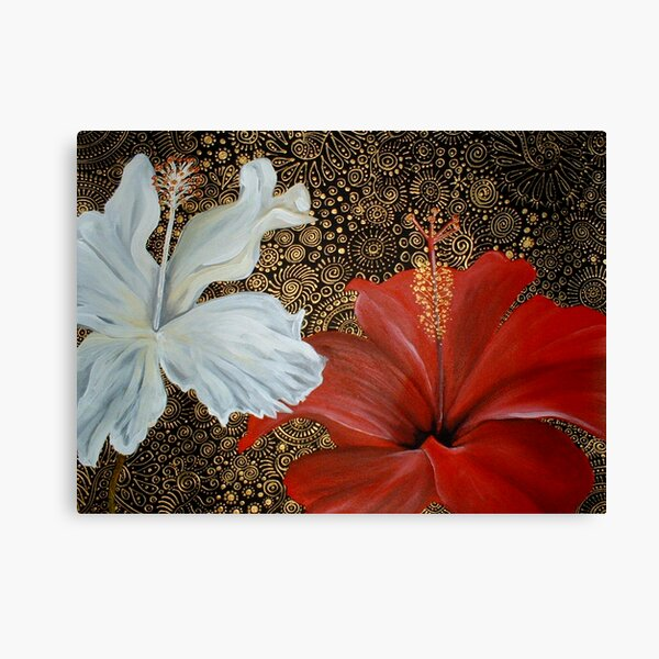 Red and White Hibiscus Canvas Print