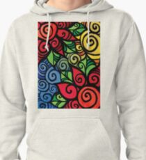 Swirly Cool and Bright Flower Pattern Pullover Hoodie