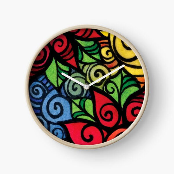 Swirly Cool and Bright Flower Pattern Clock