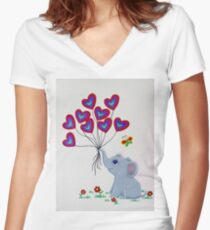 Baby Elephant with bright balloons Women's Fitted V-Neck T-Shirt