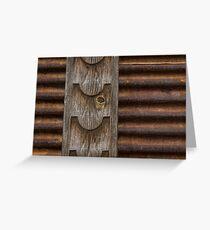 Harmonious Interplay - Weathered Wood and Rusty Metal Greeting Card