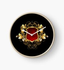 Red Shield with an Oak Branch Clock